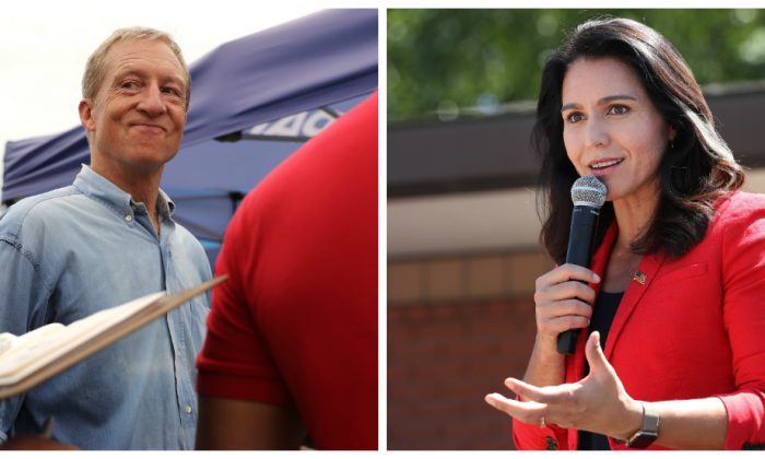 (L) Democratic presidential candidate Rep. Tulsi Gabbard (D-Hawaii) speaks at the Iowa State Fair in Des Moines, Iowa on Aug. 9, 2019. (R) Tom Steyer, a Democratic presidential candidate, talks with fairgoers while walking around the Iowa State Fair on Aug. 11, 2019. (Chip Somodevilla/Getty Images)