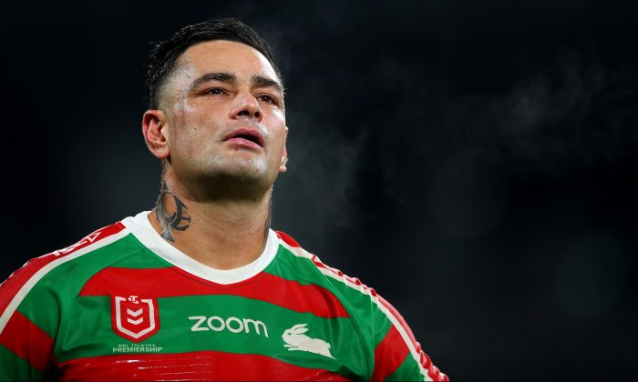 John Sutton of the Rabbitohs looks dejected after losing the round 15 NRL match between the Wests Tigers and the South Sydney Rabbitohs at Bankwest Stadium on Jun. 27, 2019 in Sydney, Australia. (Cameron Spencer/Getty Images)