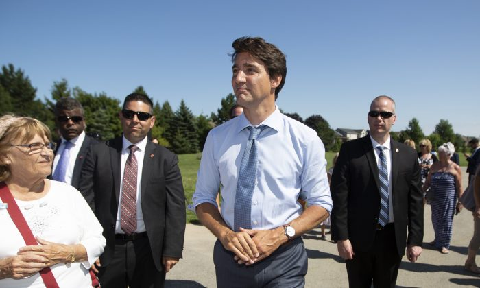 Prime Minister Justin Trudeau visits the community centre in Niagara-on-the-Lake, Ont., on August 14, 2019.  (The Canadian Press/Peter Power)