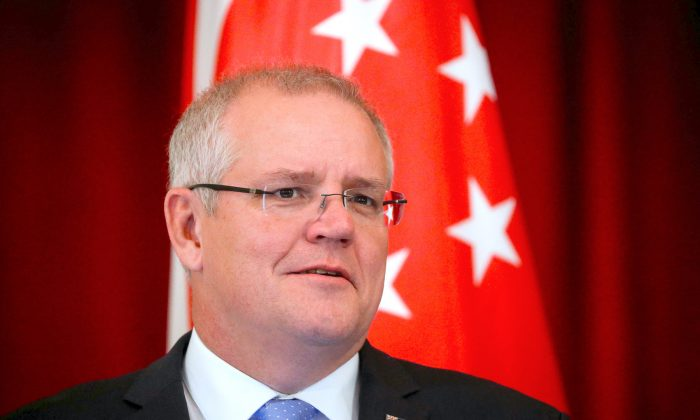 File photo: Australian Prime Minister Scott Morrison speaks during a joint press conference at the Istana Presidential Palace in Singapore, on 7 June 2019. (Wallace Woon/Pool via Reuters)