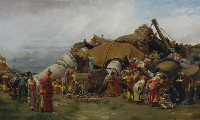 """""""Gulliver and the Lilliputians,"""" circa 1886 by Jehan-Georges Vibert. Oil on Canvas, 22.25 inches by 43.25 inches. Private Collection. (Public Domain)"""