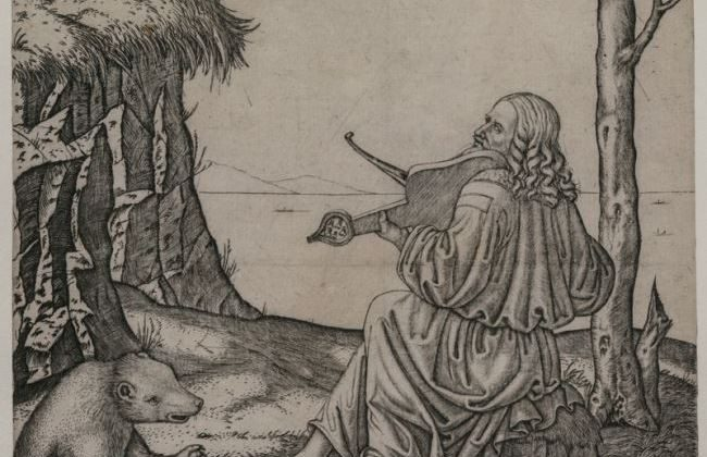"Is this engraving ""Orpheus Charming the Animals"" really a portrait of Leonardo da Vinci playing an instrument called a lira da braccio? Cleveland Museum of Art. (Public Domain)"