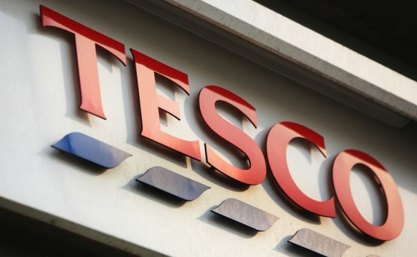 A store sign for Tesco, who have announced new jobs during lockdown, is pictured in central in London, England on January 14, 2008. (Daniel Berehulak/Getty Images)