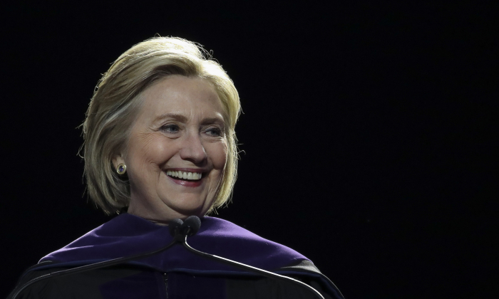 Former Secretary of State Hillary Clinton delivers the commencement address at the Hunter College Commencement ceremony at Madison Square Garden in New York City on May 29, 2019. (Drew Angerer/Getty Images)