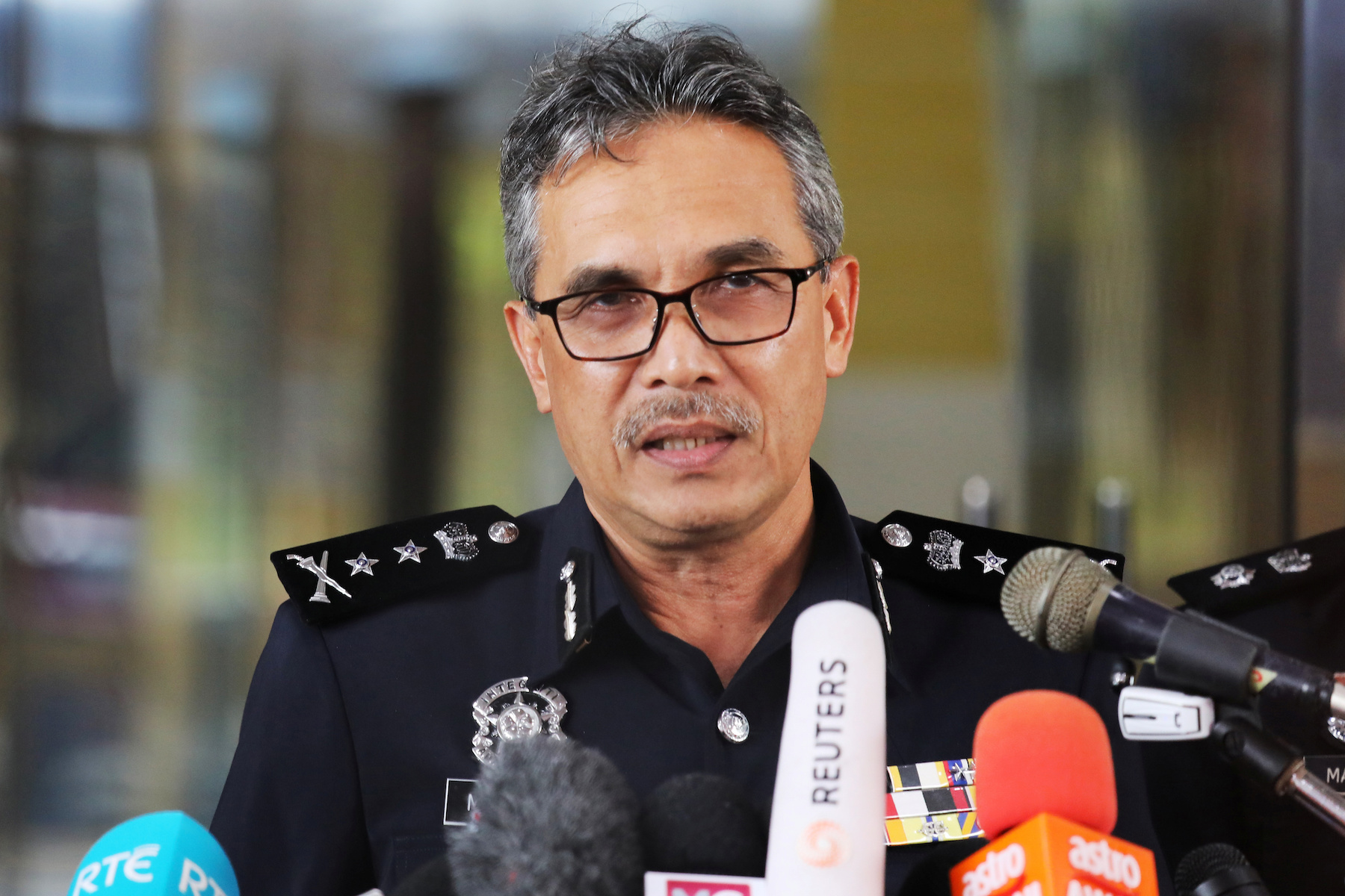 Negeri Sembilan State Police Chief Mohamad Mat Yusop speaks during a news conference at Negeri Sembilan Police Headquaters in Seremban