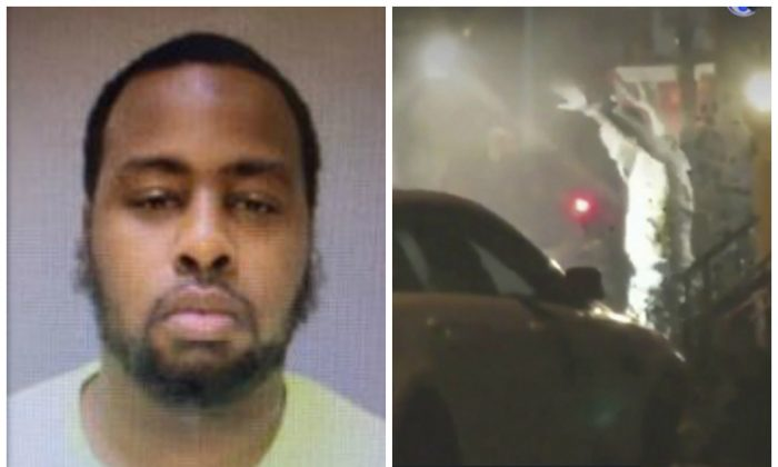 (L)- Maurice Hill in a file mugshot. (Philadelphia Police Department) (R)- A still image taken from a video showing a man exiting a building with his hands up in Philadelphia after an hours-long standoff early Aug. 14, 2019. (Bill Trenwith via AP)