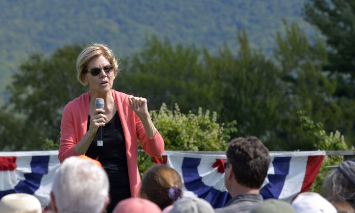 Democratic presidential candidate Sen. Elizabeth Warren (D-Mass.) speaks to supporters during a campaign stop and town hall at Toad Hill Farm in Franconia, New Hampshire, overlooking the White Mountains on Aug. 14, 2019. (Joseph Prezioso/AFP/Getty Images)