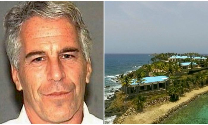 L: Jeffrey Epstein in a booking photograph in Palm Beach, Florida, on July 27, 2006. (Palm Beach Sheriff's Office) R: An aerial view of Little Saint James Island, in the U.S. Virgin Islands, a property purchased by Jeffery Epstein more than two decades ago. (Gianfranco Gaglione/AP Photo)