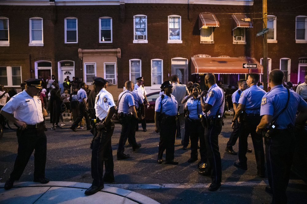 Officers gather for crowd control