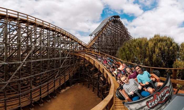 The wooden rollercoaster GhostRider is over 4,500 feet long and goes up to speeds of 56 miles per hour. A track refurbishment in 2015 and 2016 makes for a smoother ride. (Courtesy of Knott's Berry Farms)
