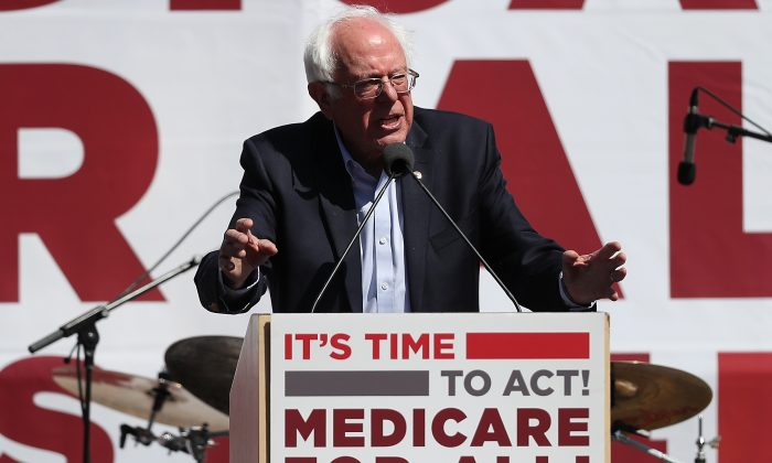U.S. Sen. Bernie Sanders (I-VT) speaks during a healthcare rally in San Francisco, California, on Sept. 22, 2017. (Justin Sullivan/Getty Images)