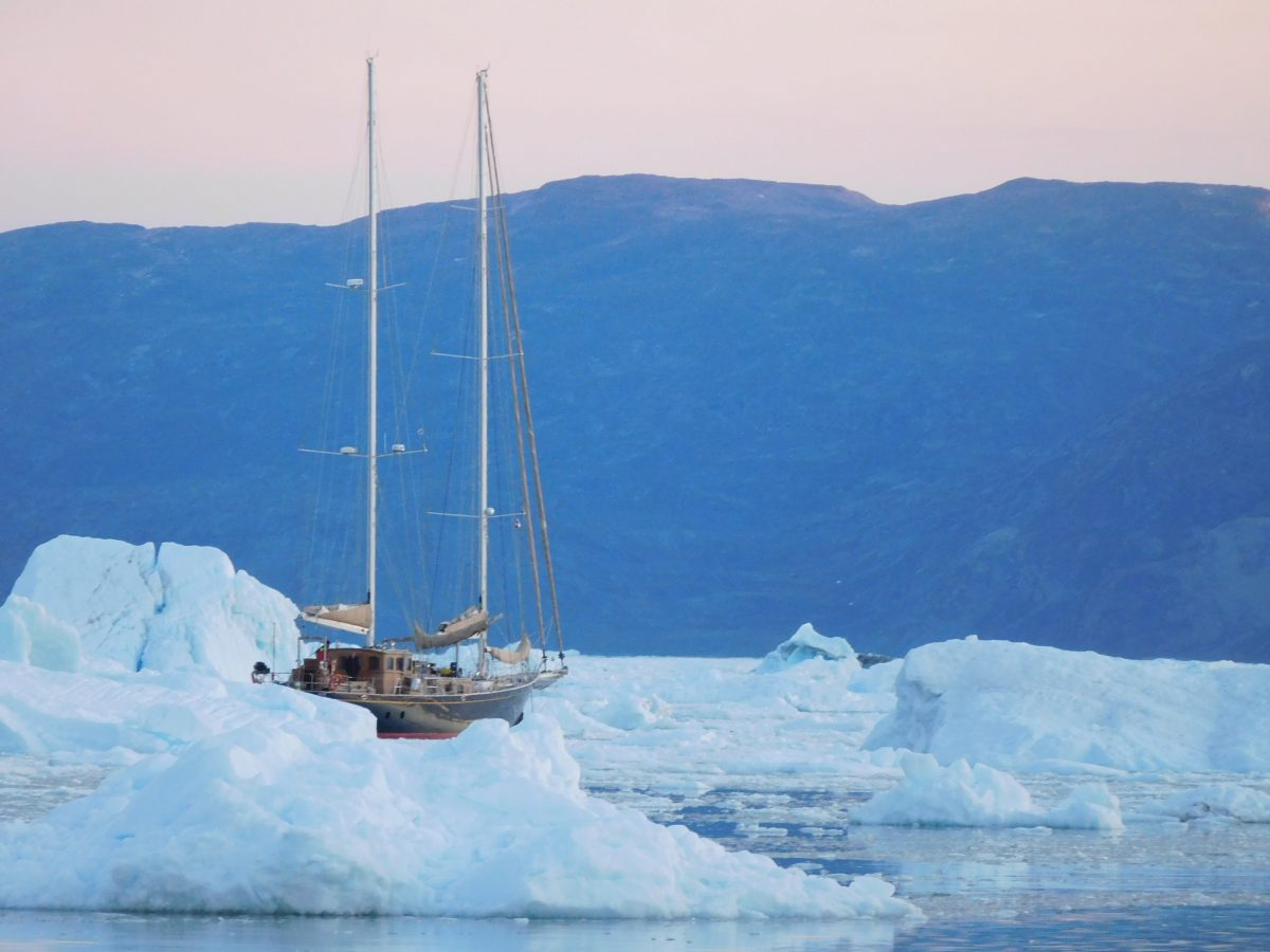 sailboat in ice