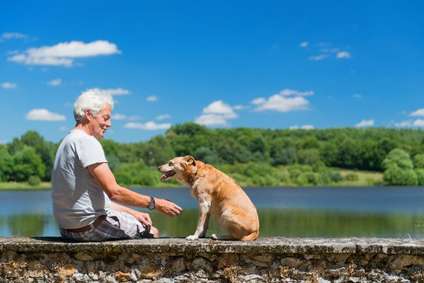 Senior man with old dog on wall in nature landscape with lake