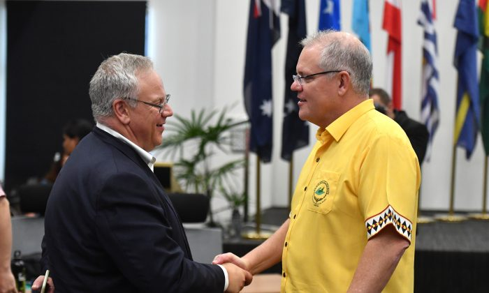 U.S. Secretary of the Interior David Bernhardt and Australia's Prime Minister Scott Morrison at the Forum Dialogue Partners Meeting during the Pacific Islands Forum in Funafuti, Tuvalu on Aug. 16, 2019. (AAP Image/Mick Tsikas)
