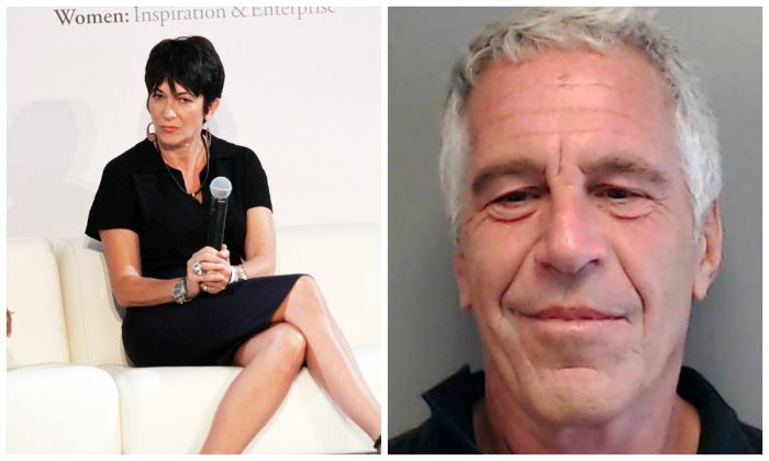(L): Ghislaine Maxwell attends a symposium in New York City in a 2013 file photograph. (Laura Cavanaugh/Getty Images); (R): Jeffrey Epstein in a 2013 mugshot in Florida. (Florida Department of Law Enforcement via Getty Images)