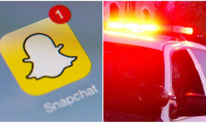 L: The logo of mobile app Snapchat is displayed on a tablet in Paris on Jan. 2, 2014. (Lionel Bonaventure/AFP/Getty Images) R: A police car in a file photo. (Mira Oberman/AFP/Getty Images)