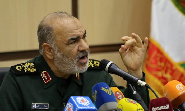 Brigadier General Hossein Salami, deputy commander of Iran's Islamic Revolutionary Guard Corps, speaks during a conference on the approaching 40th anniversary of the Islamic Revolution in the capital Tehran on Dec. 29, 2018. ( Atta Kenare/AFP/Getty Images)