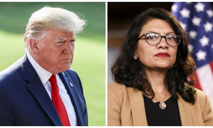 President Donald Trump speaks to reporters on the White House South Lawn in Washington on Aug. 7, 2019. (Charlotte Cuthbertson/The Epoch Times) Rep. Rashida Tlaib (D-Mich.) at a press conference on the Capitol on July 15, 2019. (Holly Kellum/NTD)