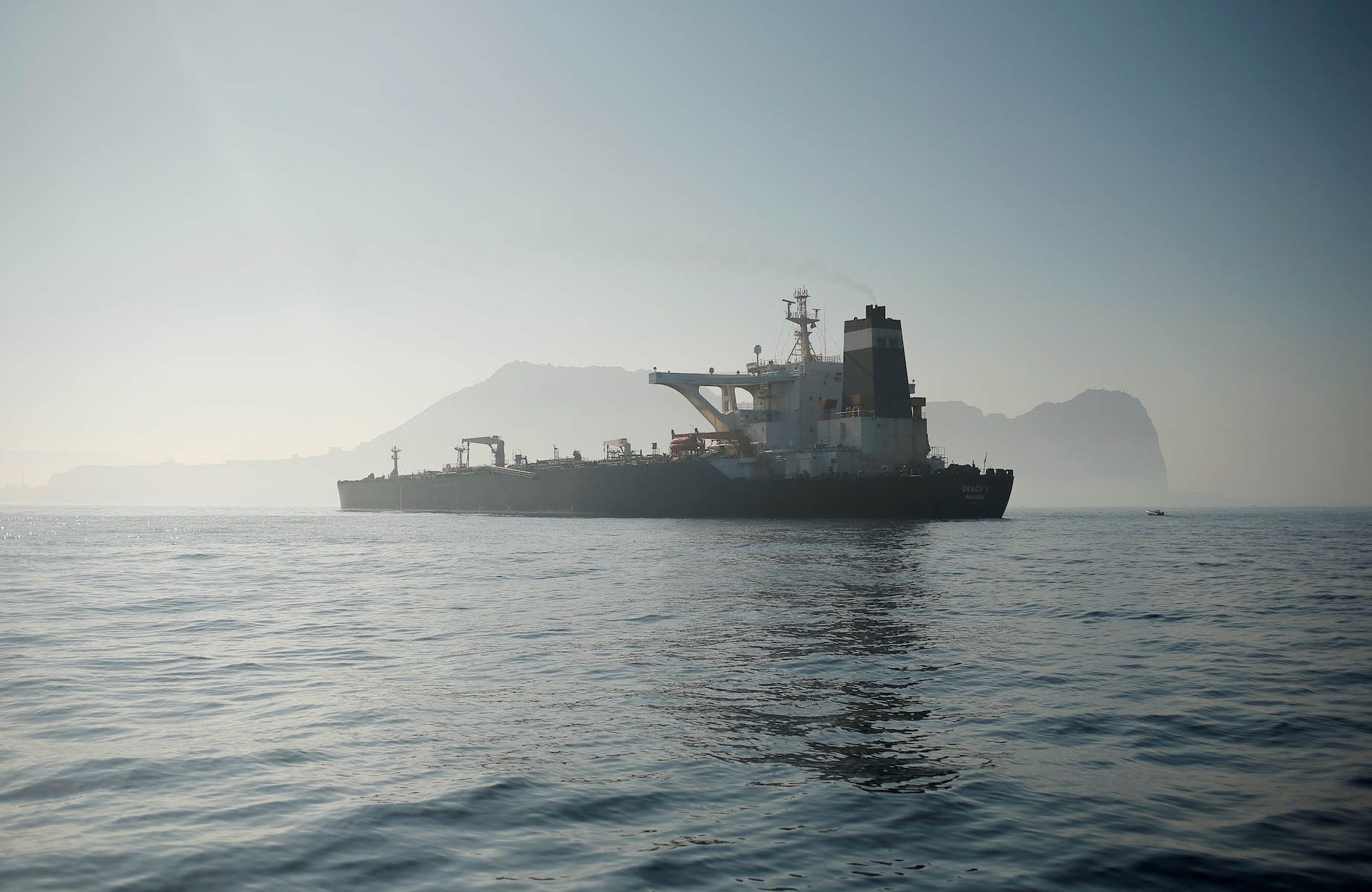 Iranian oil tanker Grace 1 sits anchored after it was seized in July by British Royal Marines off the coast of the British Mediterranean territory, in the Strait of Gibraltar