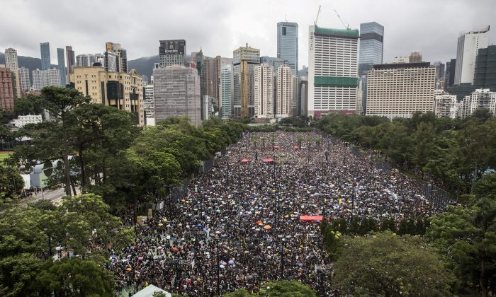 Pro-democracy protesters gather for a rally in Victoria Park in Hong Kong on Aug. 18, 2019. (Isaac Lawrence/AFP/Getty Images)