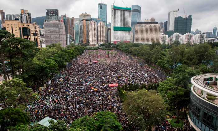 Protesters gather for a rally in Victoria Park in the latest opposition to a planned extradition law, in Hong Kong on Aug. 18, 2019. (Isaac Lawrence/AFP/Getty Images)