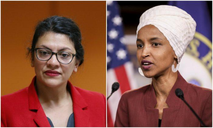 Reps. Rashida Tlaib (D-Mich.) and Ilhan Omar (D-Minn.). (Paul Sancya/AP Photo and Holly Kellum/NTD)