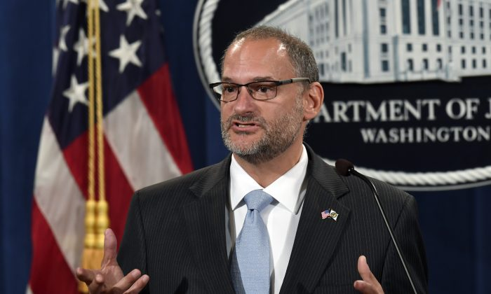Acting Director of the Bureau of Prisons Hugh Hurwitz speaks during a news conference at the Justice Department in Washington on July 19, 2019. (Susan Walsh/AP Photo)