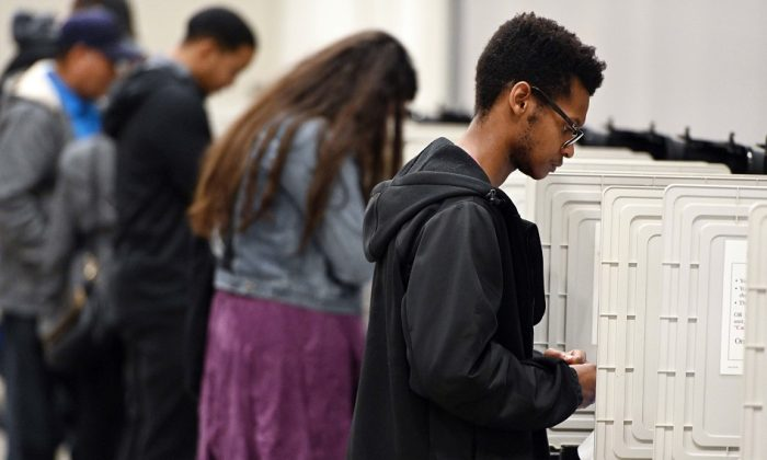 People cast their ballots ahead of the Nov. 6, general election at Jim Miller Park in Marietta, Ga., on Oct. 27, 2018.  AP Photo/Mike Stewart, File