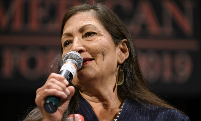 Rep. Deb Haaland (D-NM) speaks at the Frank LaMere Native American Presidential Forum in Sioux City, Iowa, on Aug. 19, 2019. (Photo by Stephen Maturen/Getty Images)