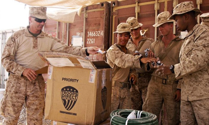 U.S. troops receive a package of much needed supplies from Troops Direct. (Courtesy of Troops  Direct)