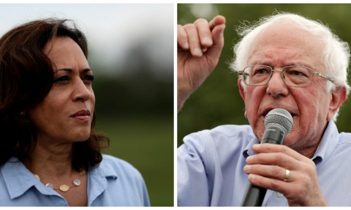 (L) Democratic presidential candidate U.S. Sen. Kamala Harris (D-Calif.) at the Coyote Run Farm in Iowa on Aug. 11, 2019. (Justin Sullivan/Getty Images) (R) Sen. Bernie Sanders (I-Vt.) gives a speech at the Des Moines Register Political Soapbox at the Iowa State Fair on Aug. 11, 2019. (Mark Makela/Getty Images)