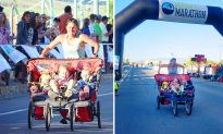 Mom of 3 Shatters World Record Finishing Half Marathon With Kids in Triple Stroller