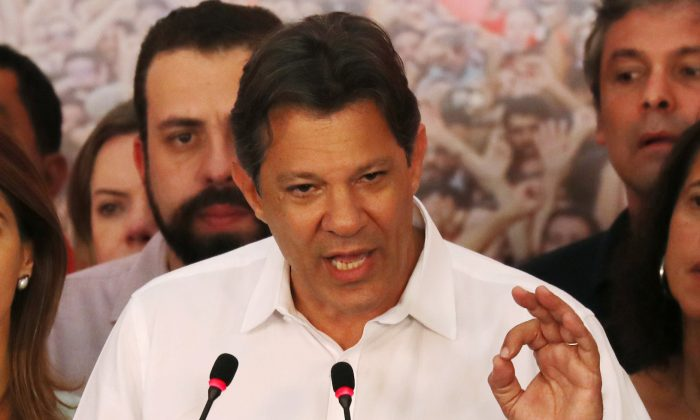 Fernando Haddad, presidential candidate of Brazil's leftist Workers Party (PT), speaks during a news conference during a runoff election in Sao Paulo, Brazil Oct. 28, 2018. (Reuters/Paulo Whitaker/File Photo)