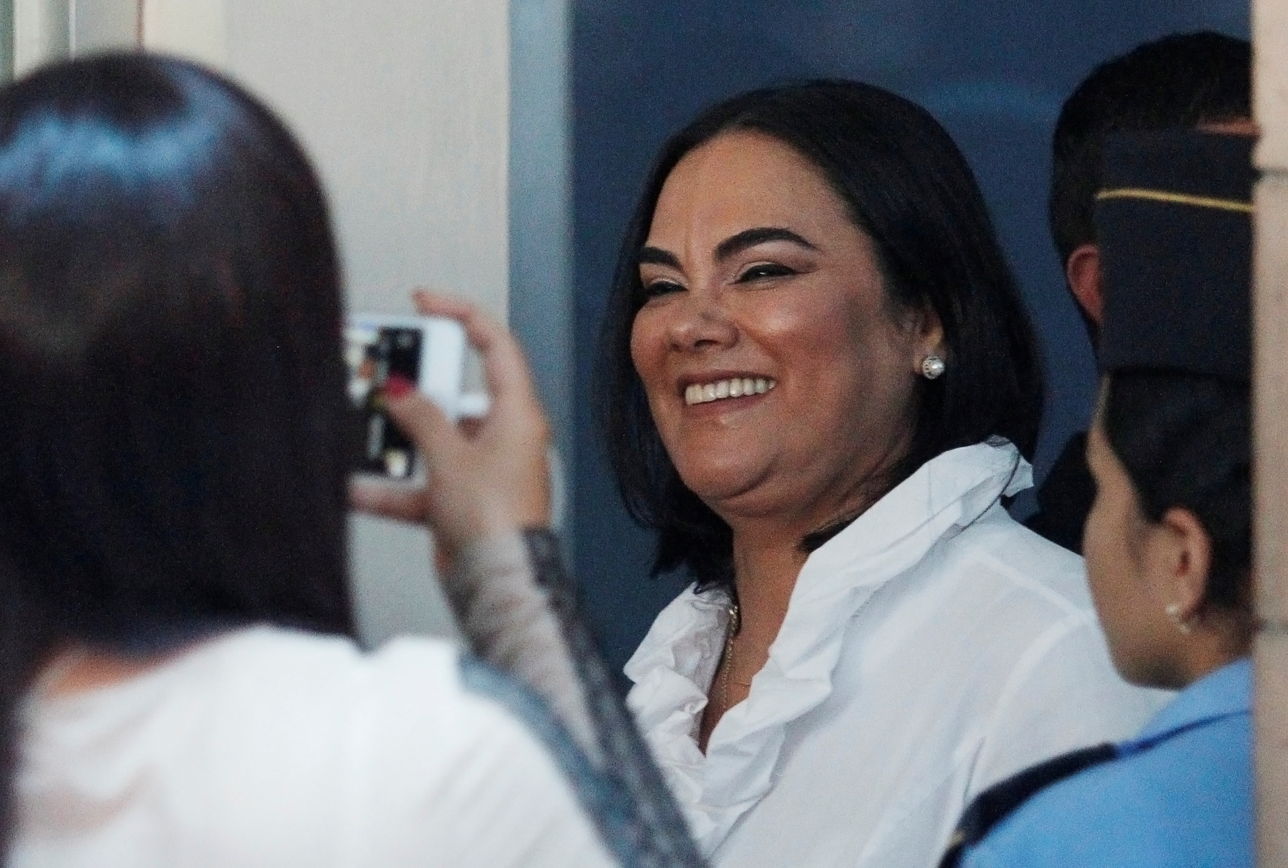 Former first lady Rosa Elena Bonilla de Lobo arrives at a court hearing to face graft charges, in Tegucigalpa