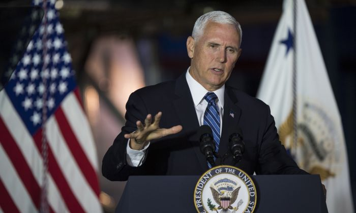 Vice President Mike Pence delivers opening remarks during the sixth meeting of the National Space Council, August 20, 2019 at the Smithsonian National Air and Space Museum's Steven F. Udvar-Hazy Center in Chantilly, VA. (Aubrey Gemignani/NASA via Getty Images)