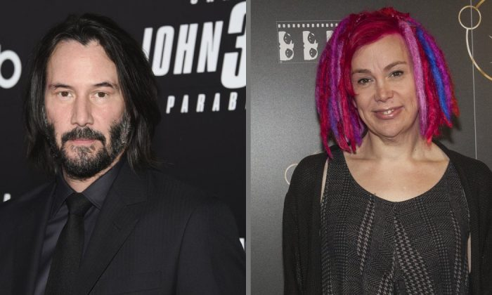 Actor Keanu Reeves and film director Lana Wachowski in file photos. (Evan Agostini and Barry Brecheisen/Invision/AP)