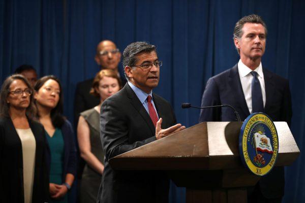 California attorney General Xavier Becerra speaks