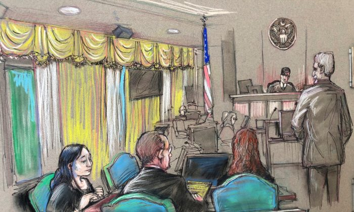 A file court sketch, Yujing Zhang (L), a Chinese woman charged with lying to illegally enter President Donald Trump's Mar-a-Lago club, listens to a hearing before Magistrate Judge William Matthewman in West Palm Beach, Fla., on Apr. 15, 2019. (Daniel Pontet via AP, File)