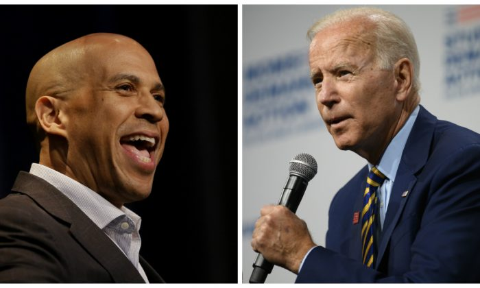 (L)-Democratic presidential candidate, Sen. Cory Booker (D-N.J.) speaks at the Iowa Federation Labor Convention in Altoona, Iowa, on Aug. 21, 2019. (Photo by Joshua Lott/Getty Images) (R)-Former Vice President Joe Biden, a presidential candidate, at a gun safety forum in Des Moines, Iowa, on Aug. 10, 2019. (Stephan Maturen/Getty Images)