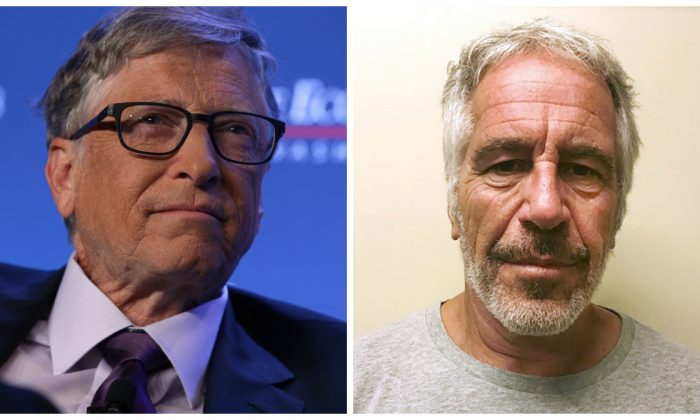 (L)-Microsoft principle founder Bill Gates at an event in Washington on June 24, 2019. (Alex Wong/Getty Images) (R)-Jeffrey Epstein appears in a photograph taken for the New York State Division of Criminal Justice Services' sex offender registry March 28, 2017 and obtained by Reuters July 10, 2019. (New York State Division of Criminal Justice Services/Handout via Reuters)