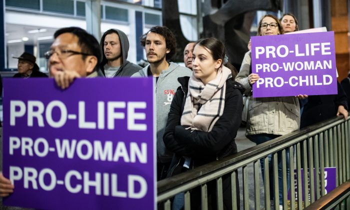 Pro-Life protesters demonstrating on Aug. 20, 2019 in Martin Place, Sydney, Australia. (James Gourley/Getty Images)