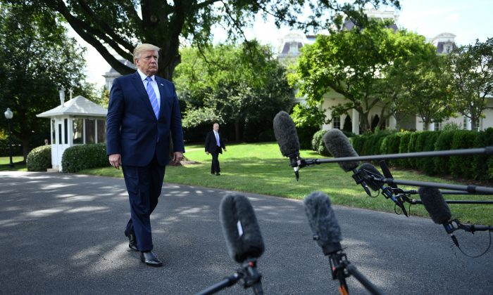 U.S. President Donald Trump walks to speak to the press at the White House as he departs for Bedminster on Aug. 2, 2019, on Washington, DC. (Brendan Smialowski/AFP/Getty Images)
