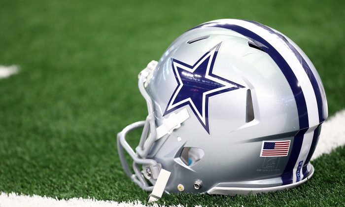 A Dallas Cowboys helmet in a file photograph. Aug. 22, 2019. (Ronald Martinez/Getty Images)
