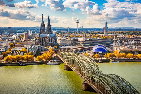An aerial view of Cologne