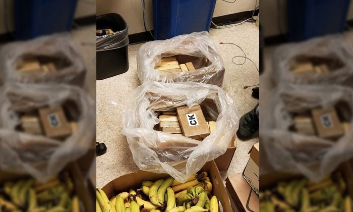 Authorities say cocaine valued at more than $1 million was found with shipments of bananas at three grocery stores in Washington state on Aug. 18, 2019. (King County Sheriff's Office)