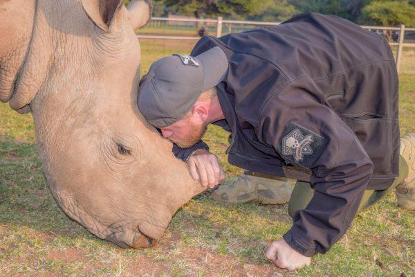 Tate with a rhino