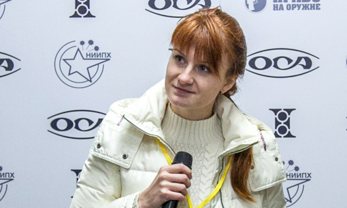 Maria Butina, leader of a pro-gun organization, during a press conference in Moscow on Oct. 8, 2013. (STR/AFP/Getty Images)