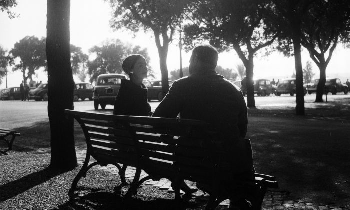 Two lonely hearts meet in the park of the Villa Borghese in Rome. They both frequent the Cafe Canova where the manager Omero Benfanati works in cooperation with a marriage agency. Enzo Graffeo/BIPs/Getty Images