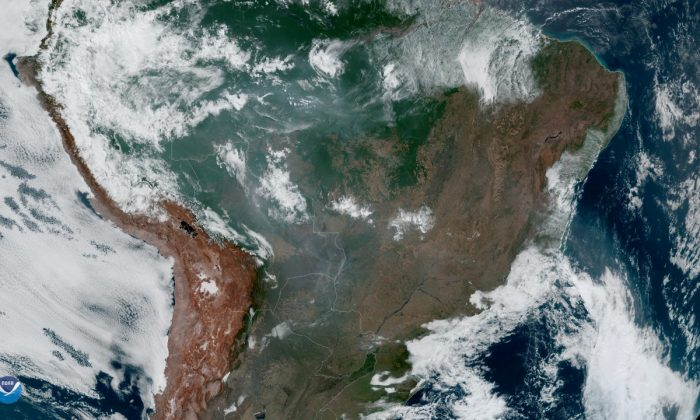Fires, burning in the Amazon Rainforest, are pictured from space, captured by the geostationary weather satellite GOES-16 on Aug. 21, 2019. (NASA/NOAA/Handout via REUTERS)
