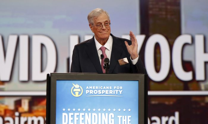 Chairman of the board of Americans for Prosperity David Koch speaks at the Defending the American Dream summit hosted by Americans for Prosperity at the Greater Columbus Convention Center in Columbus, Ohio on Aug. 1, 2015. (AP Photo/Paul Vernon, File)